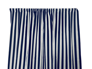 Cotton Stripe Window Curtain 58 Inch Wide 1 Inch Stripe Navy and White