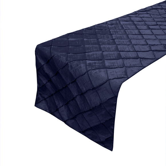 Pintuck Taffeta Table Runner Navy