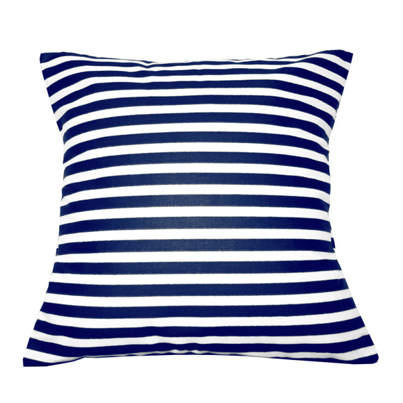 Cotton 1/2 Inch Stripe Decorative Throw Pillow/Sham Cushion Cover Navy and White