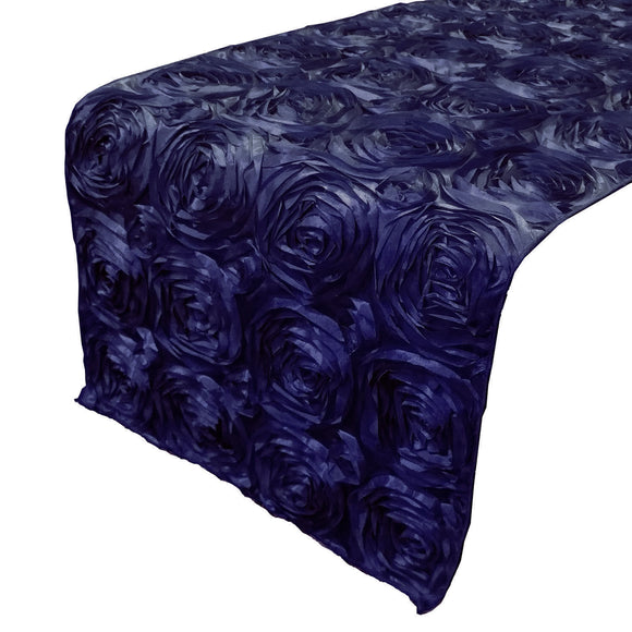 Satin Rosette Table Runner Raised Roses Navy
