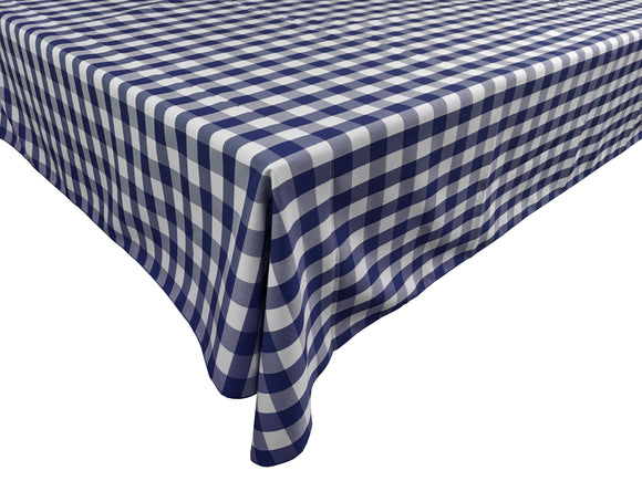 Poplin Gingham Checkered Plaid Tablecloth Navy Blue