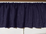 "Faux Burlap Window Valance 58"" Wide with Pleated Ruffles Navy"