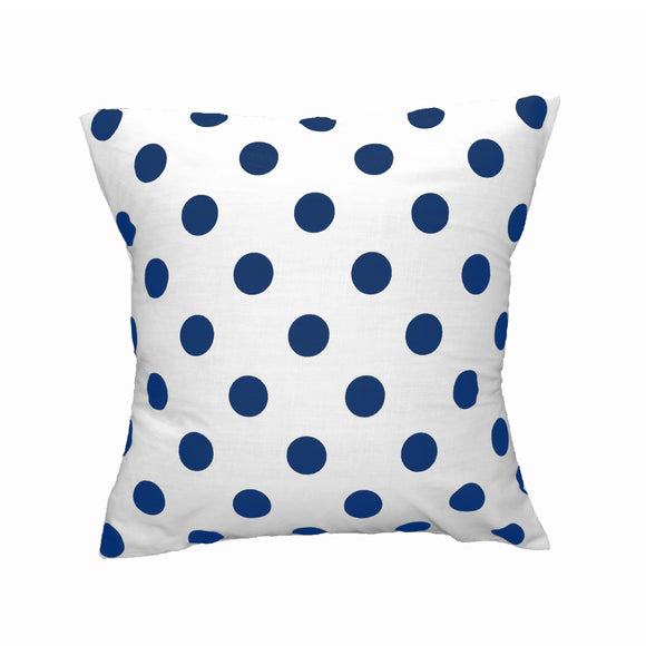 Cotton Polka Dots Decorative Throw Pillow/Sham Cushion Cover Navy On White