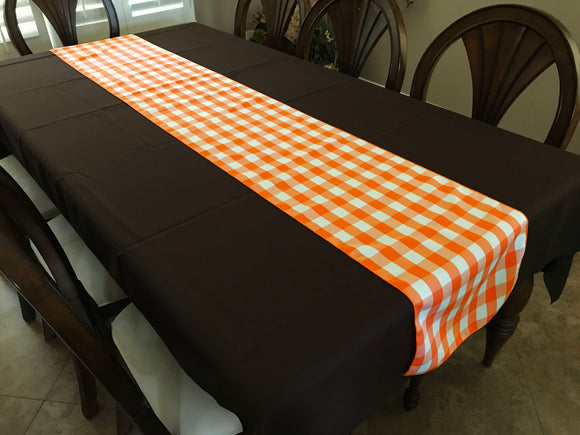 Poplin Table Runner Gingham Checkered Orange