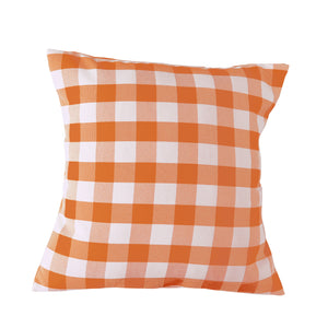 Gingham Checkered Decorative Throw Pillow/Sham Cushion Cover Orange & White