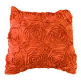 Satin Rosette Decorative Throw Pillow/Sham Cushion Cover Orange