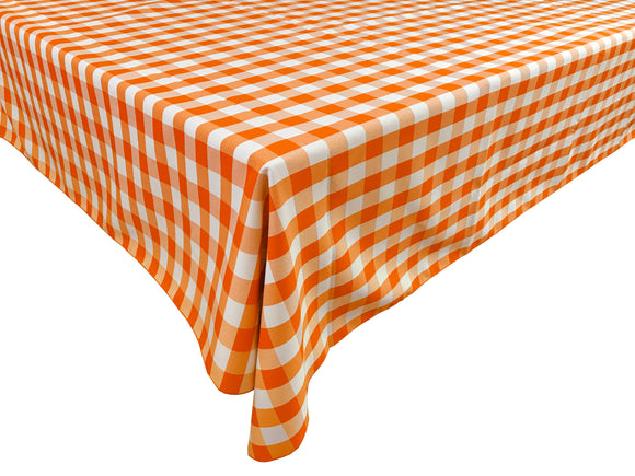 Poplin Gingham Checkered Plaid Tablecloth Orange