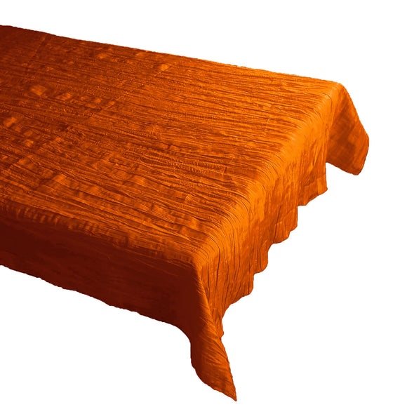 Crinkle Style Crushed Taffeta Tablecloth Orange