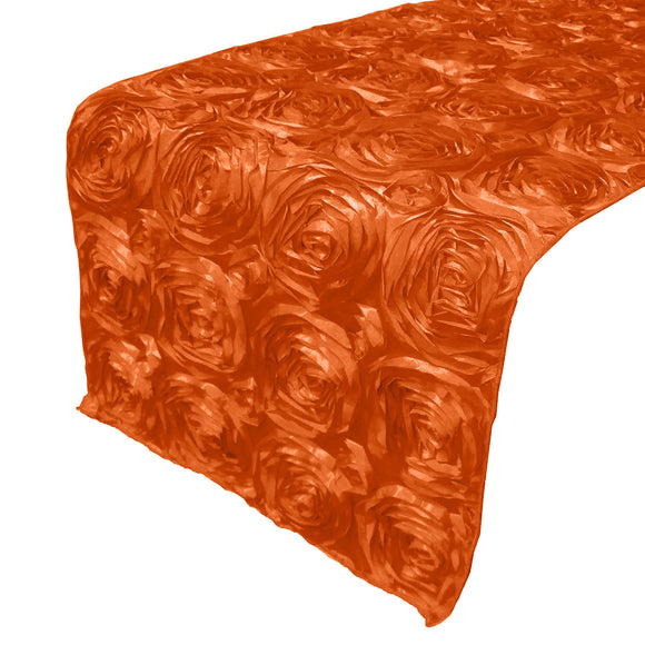 Satin Rosette Table Runner Raised Roses Orange