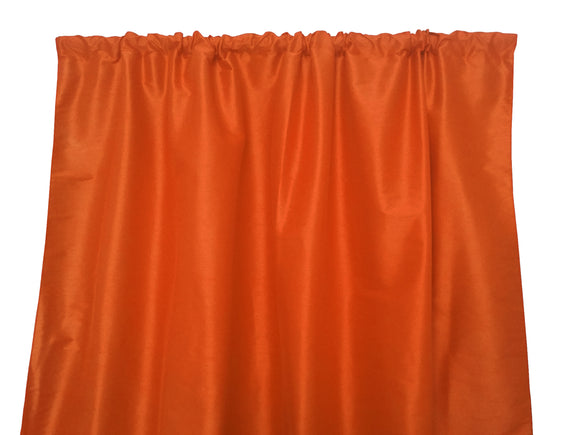 Faux Silk Solid Dupioni Window Curtain 56 Inch Wide Orange