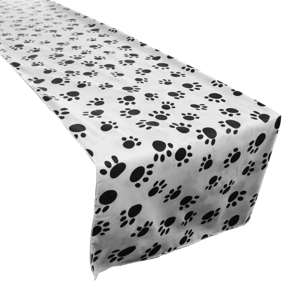 Cotton Print Table Runner Animal Paw Print Black Paw on White