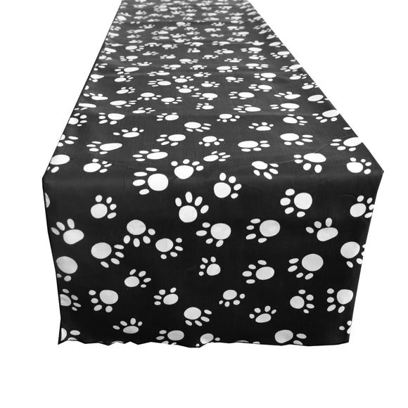 Cotton Print Table Runner Animal Paw Print White Paw on Black