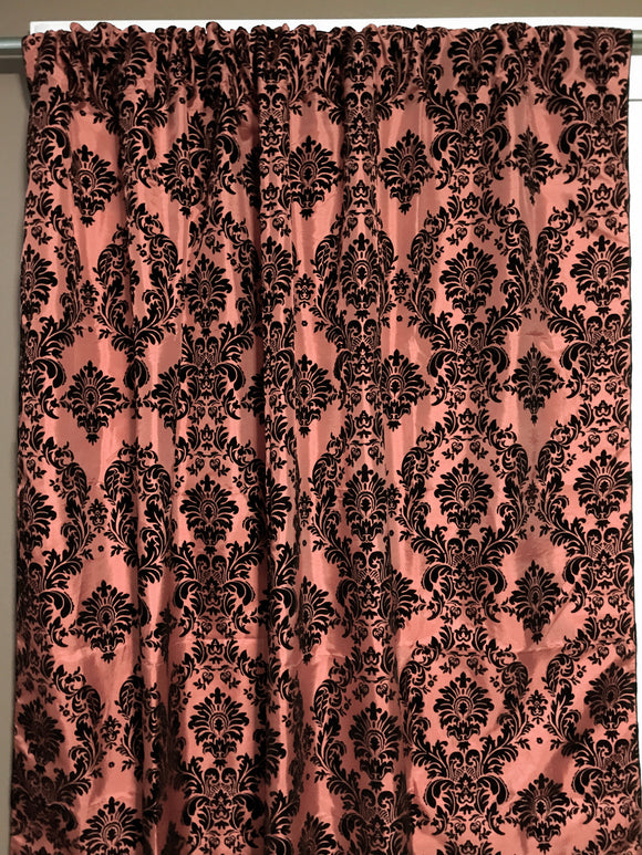 Flocking Damask Taffeta Window Curtain 56 Inch Wide Peach