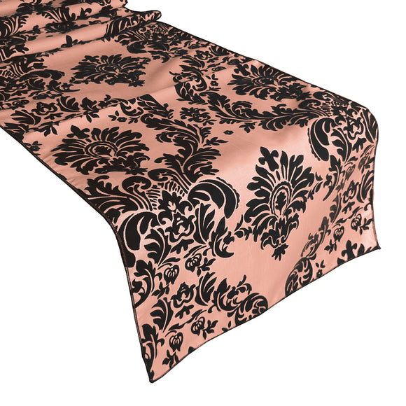 Flocked Damask Table Runner Peach
