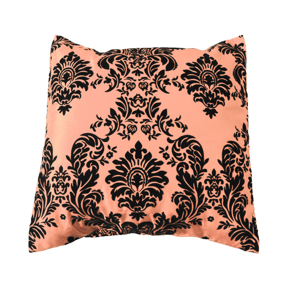 Flocked Damask Decorative Throw Pillow/Sham Cushion Cover Black on Peach