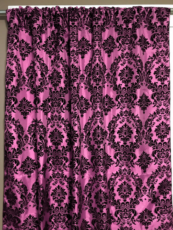 Flocking Damask Taffeta Window Curtain 56 Inch Wide Pink
