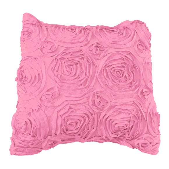 Satin Rosette Decorative Throw Pillow/Sham Cushion Cover Pink