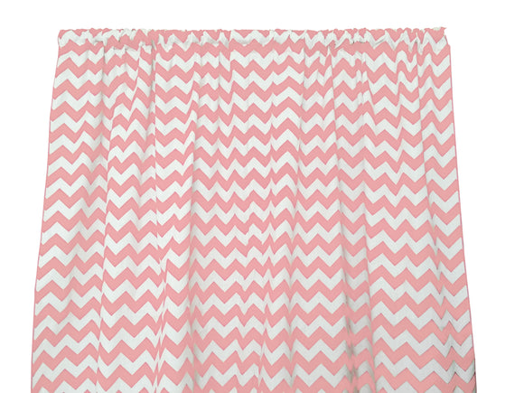 Cotton Zig-zag Chevron Window Curtain 58 Inch Wide Pink
