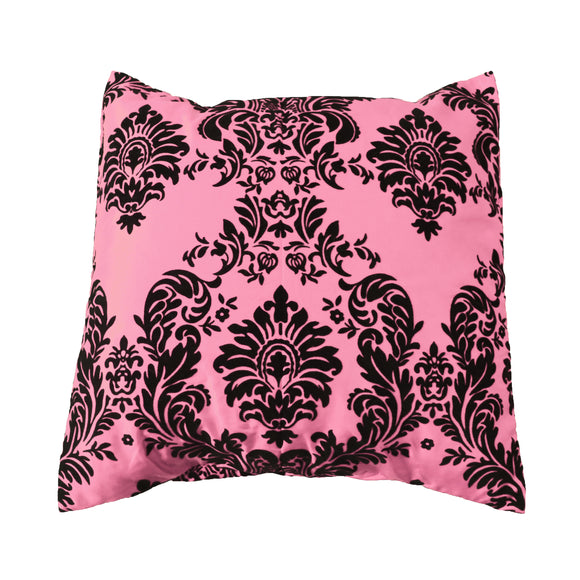 Flocked Damask Decorative Throw Pillow/Sham Cushion Cover Black on Pink