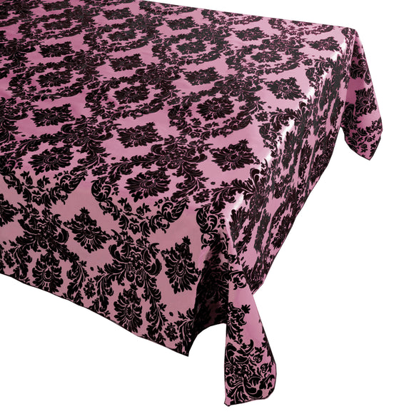Flocking Damask Taffeta Tablecloth Pink