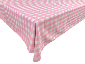Poplin Gingham Checkered Plaid Tablecloth Pink