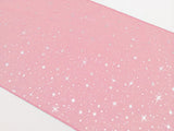 Light Weight Sheer Organza with Silver Stars Decorative Table Runner Light Pink