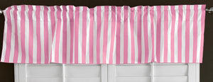 "Cotton Stripe Window Valance 58"" wide 1 Inch Stripe Pink"
