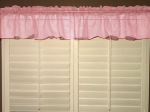 "Sheer Organza Window Valance 58"" Wide Solid Pink"