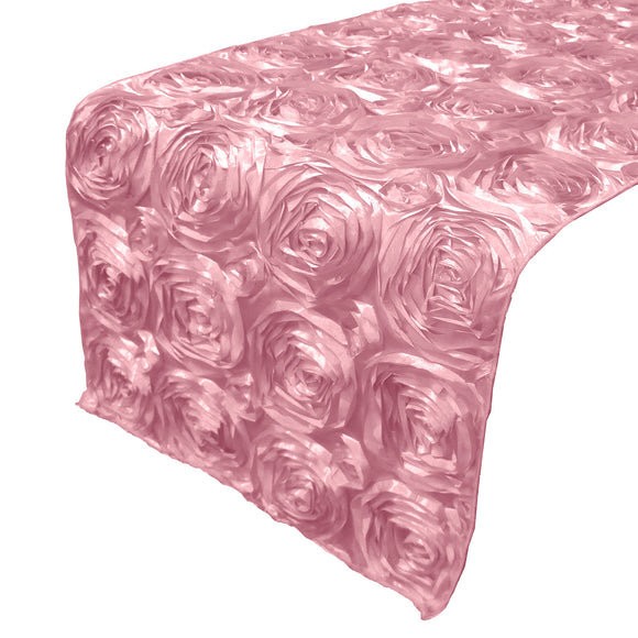 Satin Rosette Table Runner Raised Roses Pink