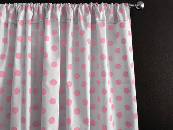 Cotton Polka Dots Window Curtain 58 Inch Wide Pink on White