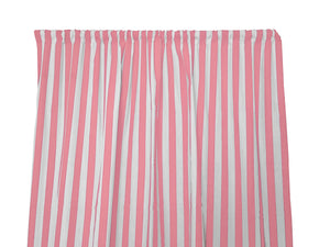 Cotton Stripe Window Curtain 58 Inch Wide 1 Inch Stripe Pink and White