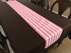 Cotton Print Table Runner 1 Inch Wide Stripes Pink