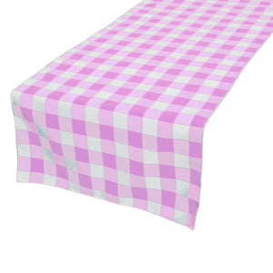Cotton Print Table Runner Gingham Checkered Pink