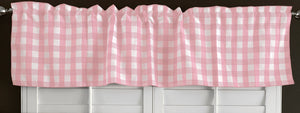 "Poplin Gingham Checkered Window Valance 58"" Wide Pink"