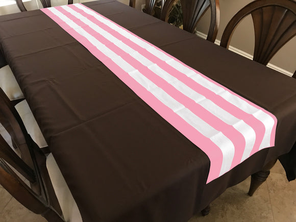 Cotton Print Table Runner 2 Inch Wide Stripes Pink