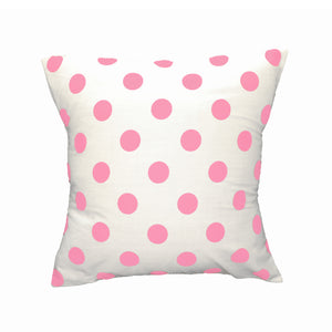 Cotton Polka Dots Decorative Throw Pillow/Sham Cushion Cover Pink On White