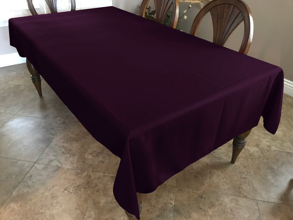 Solid Poplin Tablecloth Plum