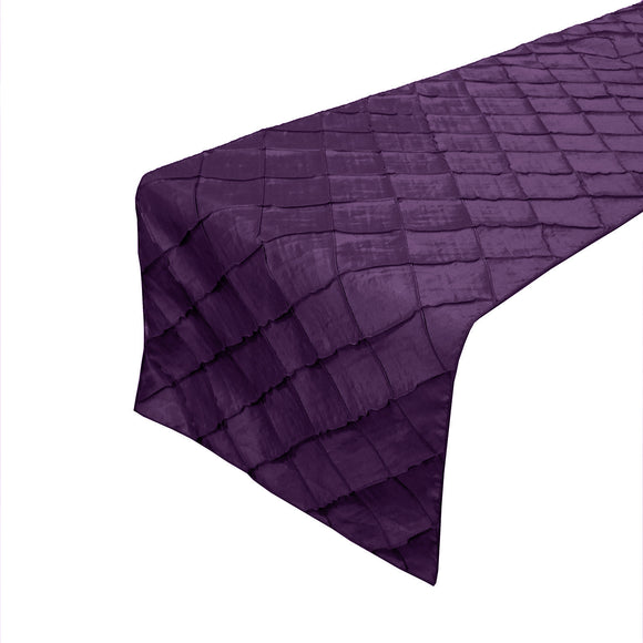 Pintuck Taffeta Table Runner Plum