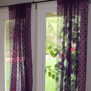 Floral Lace Window Curtain 58 Inch Wide Plum