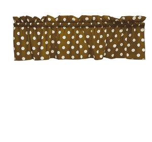 "Cotton Polka Dots Window Valance 58"" Wide White on Brown"