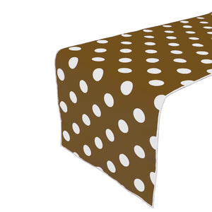 Cotton Print Table Runner Polka Dots White on Brown