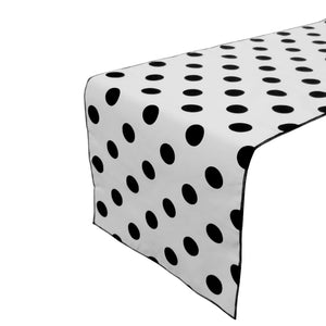 Cotton Print Table Runner Polka Dots Black on White