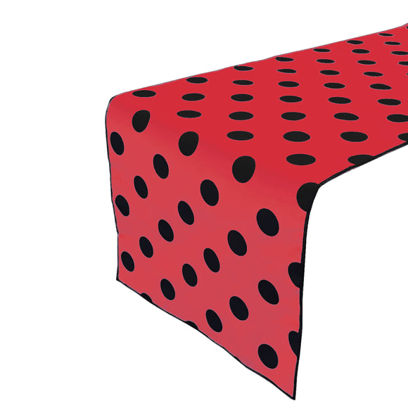 Cotton Print Table Runner Polka Dots Black on Red