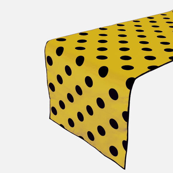 Cotton Print Table Runner Polka Dots Black on Yellow