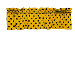 "Cotton Polka Dots Window Valance 58"" Wide Black on Yellow"