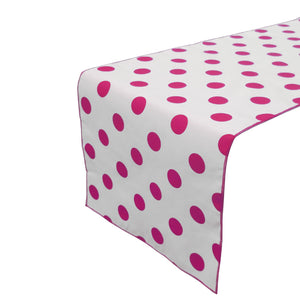 Cotton Print Table Runner Polka Dots Fuchsia on White