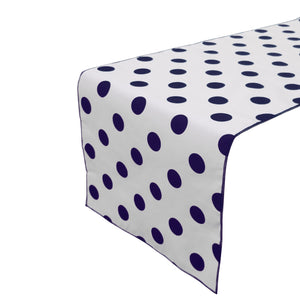 Cotton Print Table Runner Polka Dots Navy on White
