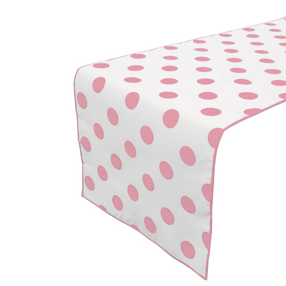 Cotton Print Table Runner Polka Dots Pink on White