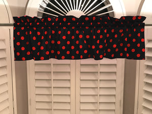 "Cotton Polka Dots Window Valance 58"" Wide Red on Black"