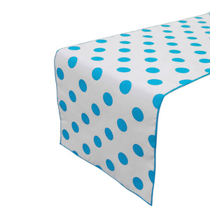 Cotton Print Table Runner Polka Dots Turquoise on White